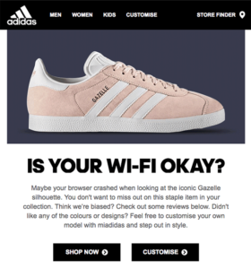 Example of an browse abandonment email by adidas (source: clickz)