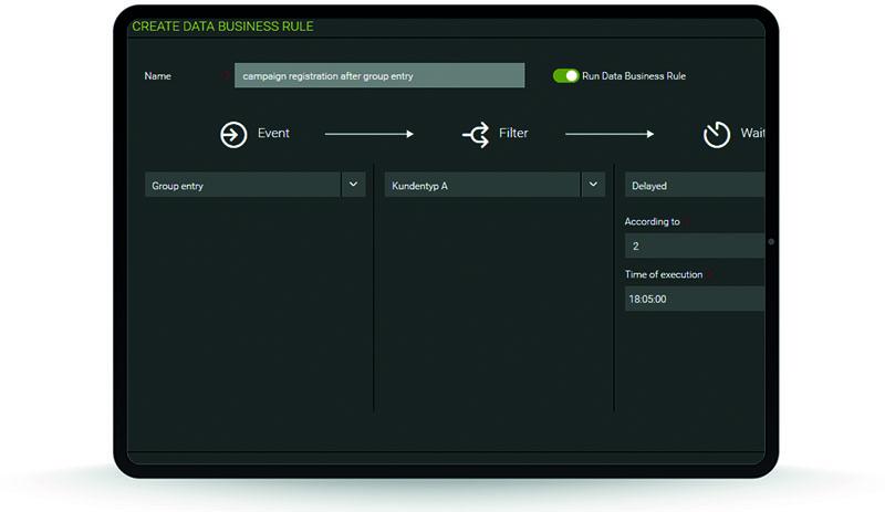 artegic ELAINE create data business rule