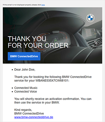 BMW Transactional Mail Screenshot