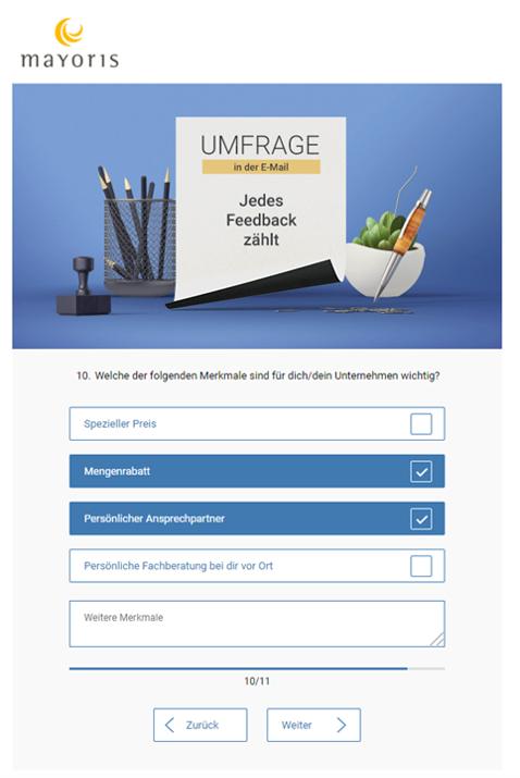 Interaktive E-Mail: Umfrage